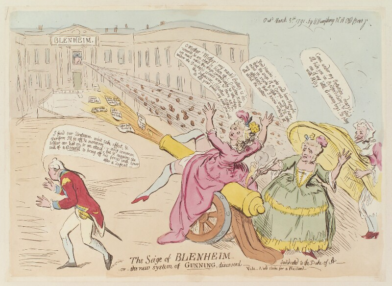 'The seige of Blenheim - or - the new system of gunning, discoverd', by James Gillray, published by  Hannah Humphrey, published 5 March 1791 - NPG D13002 - © National Portrait Gallery, London