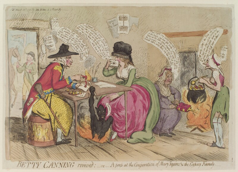 'Betty Canning revived: - or - a peep at the conjuration of Mary Squires, & the gypsey family', by James Gillray, published by  Samuel William Fores, published 25 March 1791 - NPG D13003 - © National Portrait Gallery, London