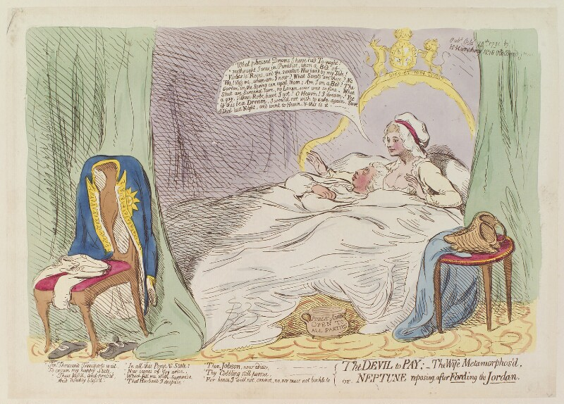 'The devil to pay; - the wife metamorphos'd, or Neptune reposing, after fording the Jordan', by James Gillray, published by  Hannah Humphrey, published 24 October 1791 - NPG D13006 - © National Portrait Gallery, London
