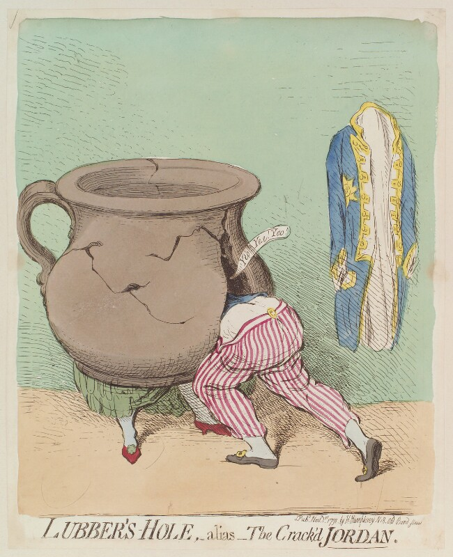 'Lubber's-hole, - alias - the crack'd Jordan' Dorothy Jordan; King William IV), by James Gillray, published by  Hannah Humphrey, published 1 November 1791 - NPG D13007 - © National Portrait Gallery, London