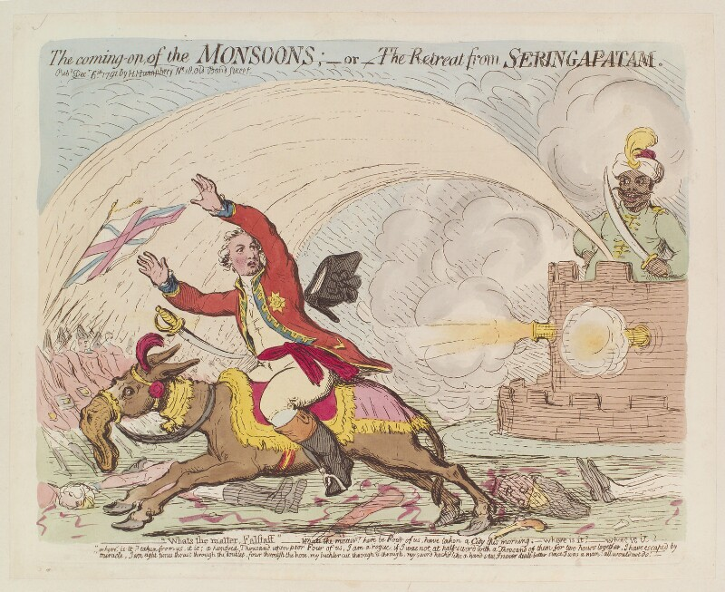 'The coming-on of the monsoons; - or - the retreat from Seringapatam', by James Gillray, published by  Hannah Humphrey, published 6 December 1791 - NPG D13008 - © National Portrait Gallery, London