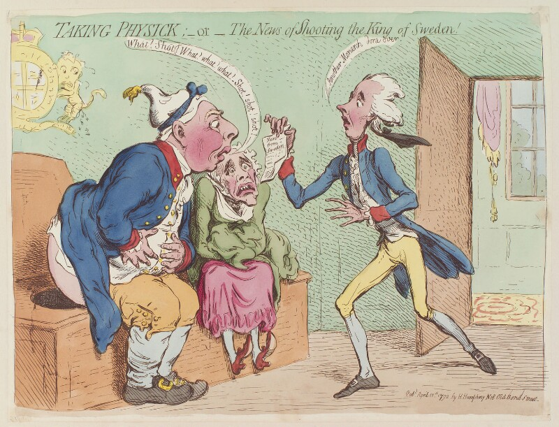 'Taking physick: - or - the news of shooting the King of Sweden!', by James Gillray, published by  Hannah Humphrey, published 11 April 1792 - NPG D13010 - © National Portrait Gallery, London
