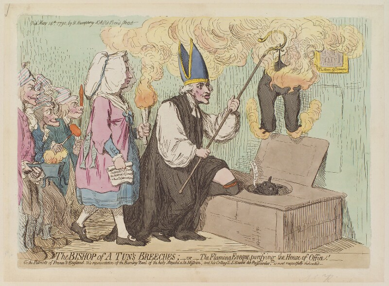 'The Bishop of a Tun's breeches; - or - the flaming eveque, purifying the house of office!', by James Gillray, published by  Hannah Humphrey, published 14 May 1792 - NPG D13011 - © National Portrait Gallery, London