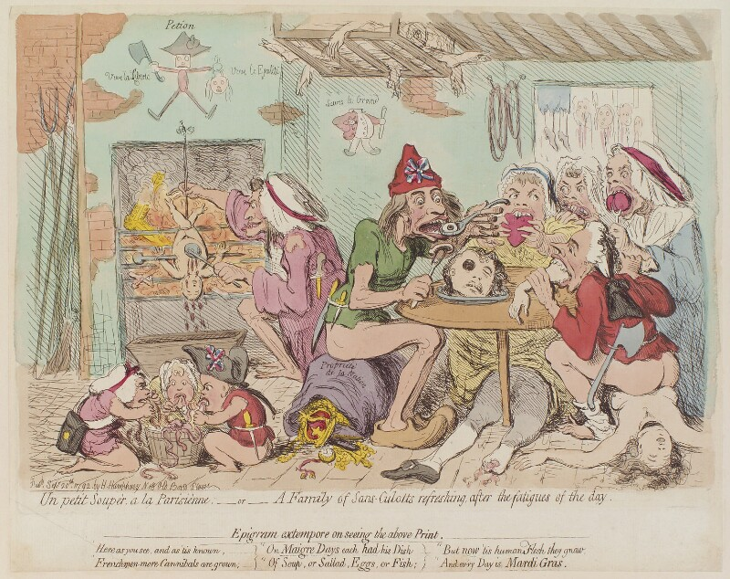 'Un petit souper, a la Parisienne; - or - a family of sans-culotts refreshing, after the fatigues of the day', by James Gillray, published by  Hannah Humphrey, published 20 September 1792 - NPG D13013 - © National Portrait Gallery, London