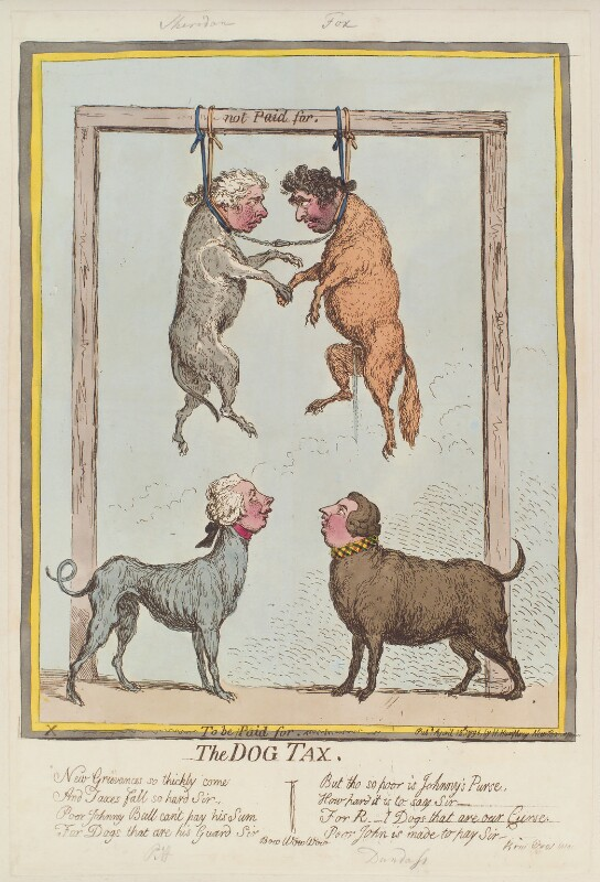 'The dog tax' (Richard Brinsley Sheridan; William Pitt; Charles James Fox; Henry Dundas, 1st Viscount Melville), by James Gillray, published by  Hannah Humphrey, published 12 April 1796 - NPG D13022 - © National Portrait Gallery, London
