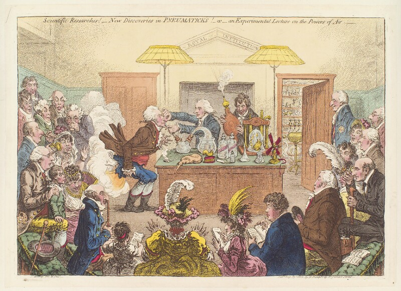 'Scientific researches! - new discoveries in pneumaticks! - or - an experimental lecture on the powers of air', by James Gillray, published by  Hannah Humphrey, published 23 May 1802 - NPG D13036 - © National Portrait Gallery, London