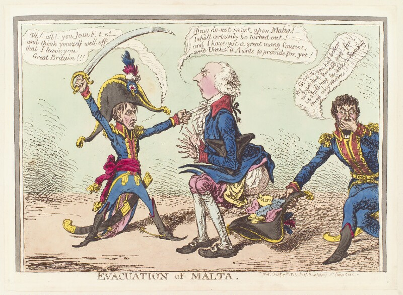 'Evacuation of Malta' (Napoléon Bonaparte; Henry Addington, 1st Viscount Sidmouth), by James Gillray, published by  Hannah Humphrey, published 9 February 1803 - NPG D13039 - © National Portrait Gallery, London