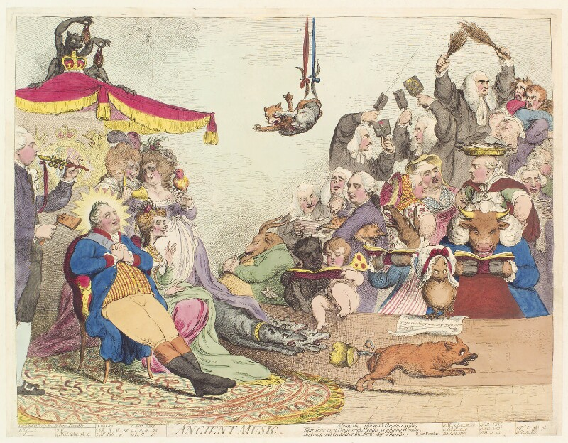 'Ancient music', by James Gillray, published by  Samuel William Fores, published 10 May 1787 - NPG D13060 - © National Portrait Gallery, London