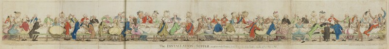'The installation-supper, as given at the Pantheon, by the Knights of the Bath on the 26th of May, 1788, by James Gillray, published by  Samuel William Fores, published 4 June 1788 - NPG D13065 - © National Portrait Gallery, London