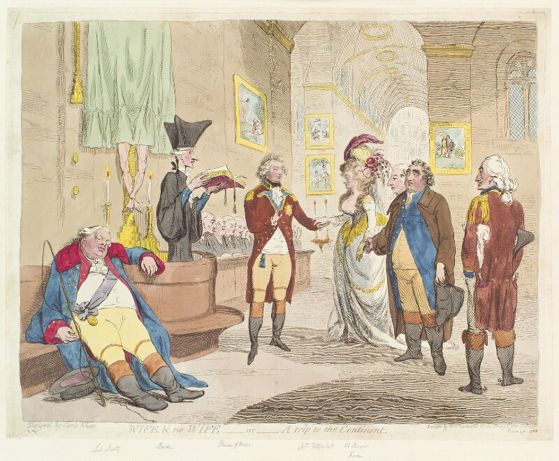 'Wife & no wife - or - a trip to the Continent', by James Gillray, published by  William Holland, published 27 March 1786 - NPG D13066 - © National Portrait Gallery, London