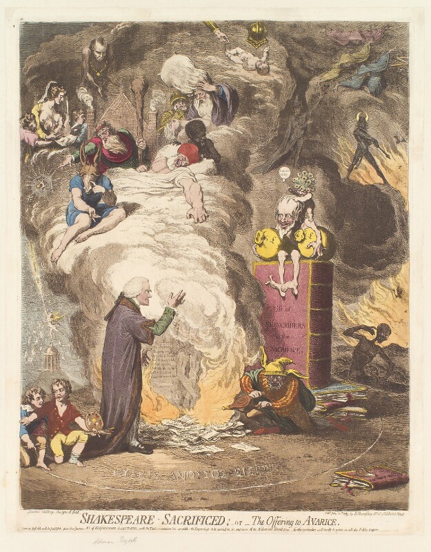 'Shakespeare sacrificed; - or - the offering to avarice' (John Boydell), by James Gillray, published by  Hannah Humphrey, published 20 June 1789 - NPG D13069 - © National Portrait Gallery, London