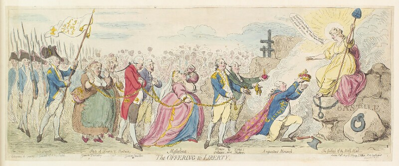 'The offering to liberty', by James Gillray, published by  James Aitken, published 3 August 1789 - NPG D13070 - © National Portrait Gallery, London