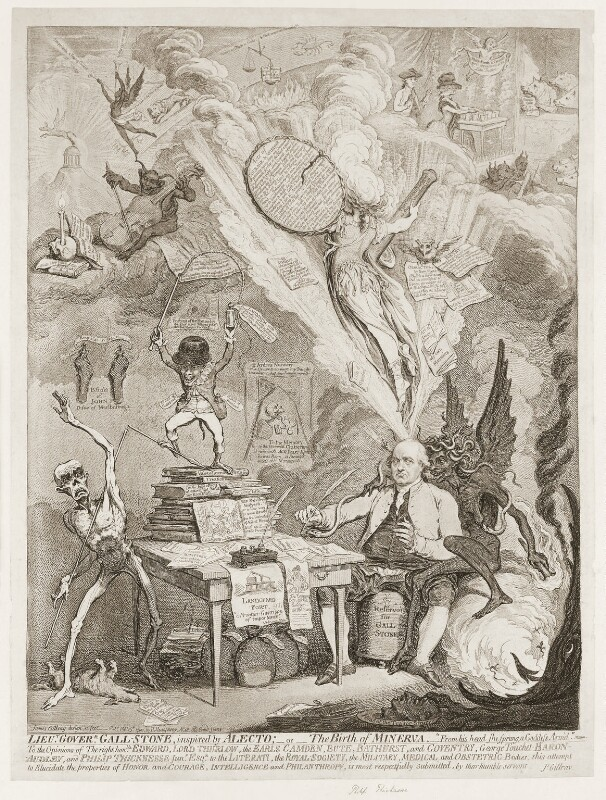 Philip Thicknesse ('Lieut Goverr Gall-Stone, inspired by Alecto; - or - the birth of Minerva'), by James Gillray, published by  Hannah Humphrey, published 15 February 1790 - NPG D13071 - © National Portrait Gallery, London