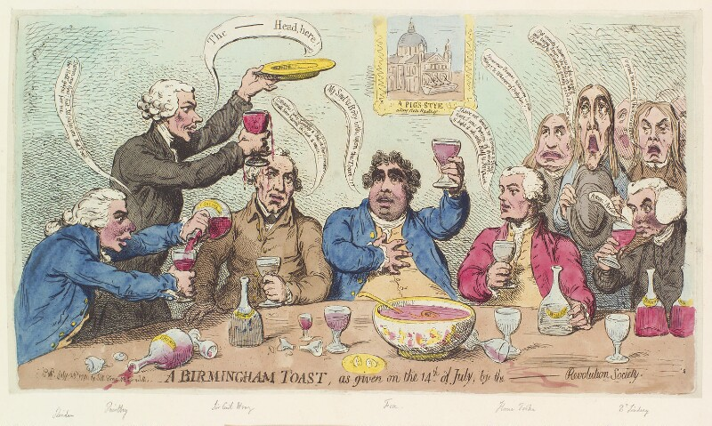 'A Birmingham toast, as given on the 14th of July, by the - Revolution Society', by James Gillray, published by  Samuel William Fores, published 23 July 1791 - NPG D13075 - © National Portrait Gallery, London
