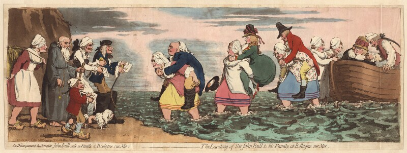 'The landing of Sir John Bull and his family, at Boulogne sur Mer', by James Gillray, published by  Hannah Humphrey, published 31 May 1792 - NPG D13078 - © National Portrait Gallery, London