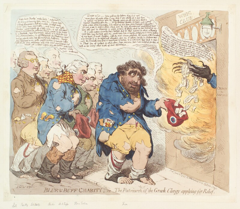 'Blue and buff charity; - or - the patriarch of the Greek clergy applying for relief', by James Gillray, published by  Hannah Humphrey, published 12 June 1793 - NPG D13081 - © National Portrait Gallery, London