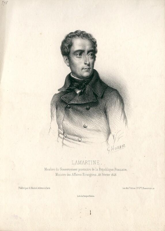Alphonse Marie Louise Prat de Lamartine, by G. Houser, 1848 or after - NPG D13239 - © National Portrait Gallery, London