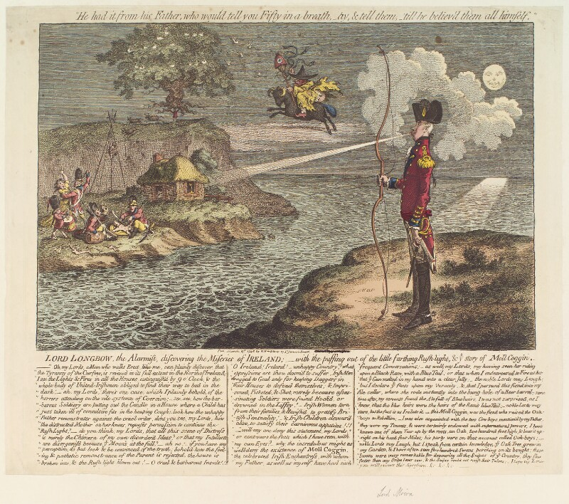 Francis Rawdon-Hastings, 1st Marquess of Hastings ('Lord Longbow, the alarmist, discovering the miseries of Ireland'), by James Gillray, published by  Hannah Humphrey, published 12 March 1798 - NPG D13092 - © National Portrait Gallery, London