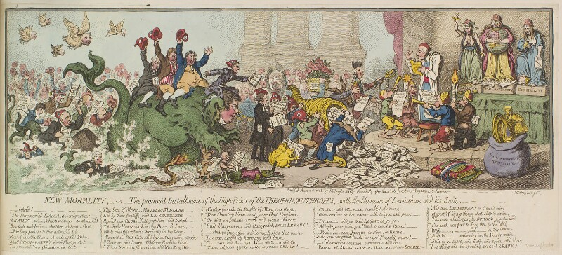 'New morality; - or - the promis'd installment of the high-priest of the Theophilanthropes, with the homage of Leviathan and his suite', by James Gillray, published by  John Wright, published 1 August 1798 - NPG D13094 - © National Portrait Gallery, London
