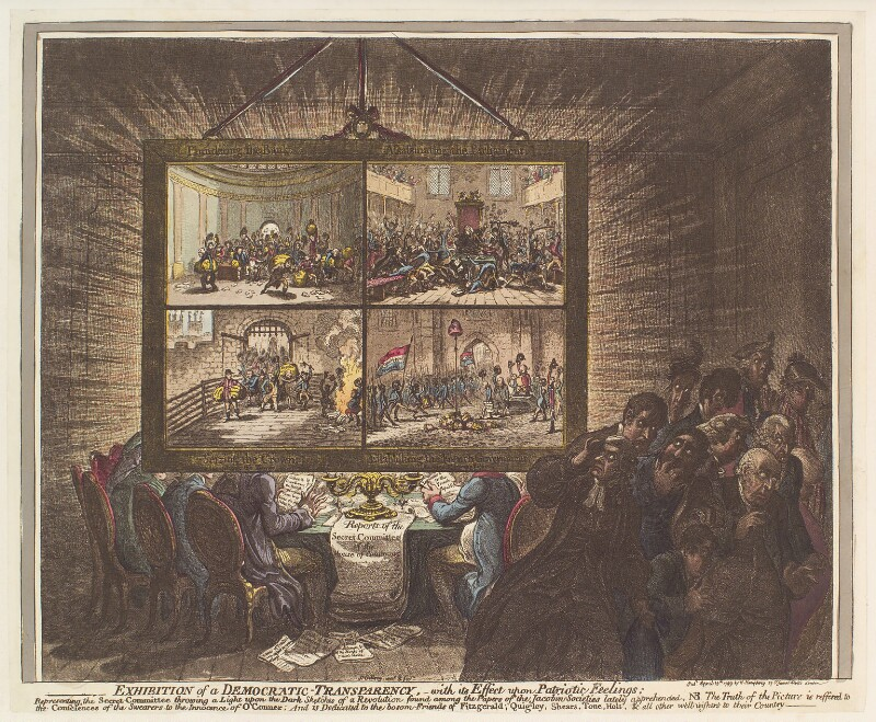 'Exhibition of a democratic-transparency, - with its effect upon patriotic feelings', by James Gillray, published by  Hannah Humphrey, published 15 April 1799 - NPG D13096 - © National Portrait Gallery, London