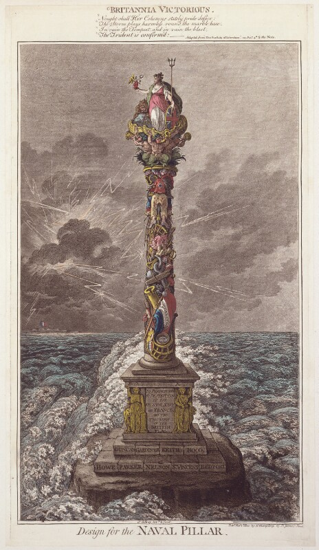 'Design for the naval pillar'; Britannia, by James Gillray, published by  Hannah Humphrey, published 1 February 1800 - NPG D13097 - © National Portrait Gallery, London
