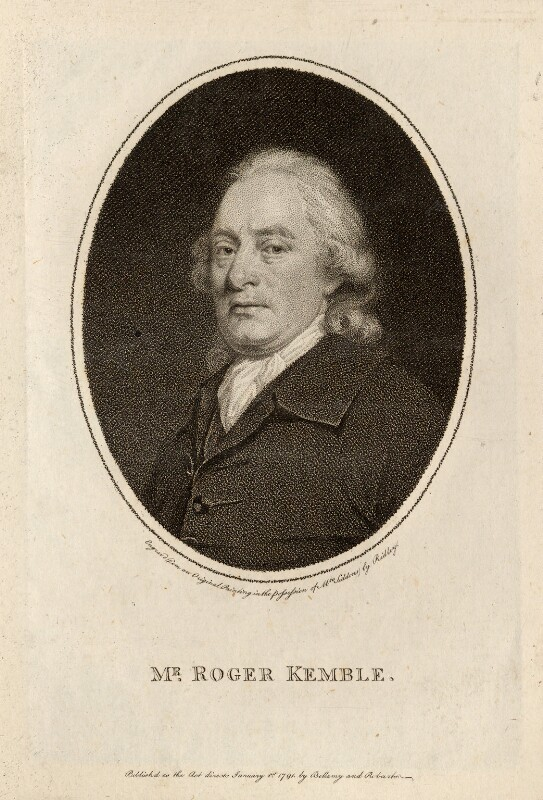 Roger Kemble, by William Ridley, published by  Bellamy and Robarts, after  Thomas Beach, published 1791 - NPG D13241 - © National Portrait Gallery, London