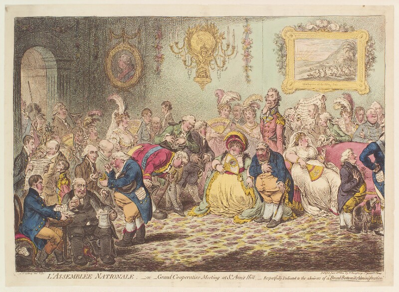 'L'assemblée nationale: - or - grand cooperation meeting at St Ann's Hill', by James Gillray, published by  Hannah Humphrey, published 18 June 1804 - NPG D13107 - © National Portrait Gallery, London