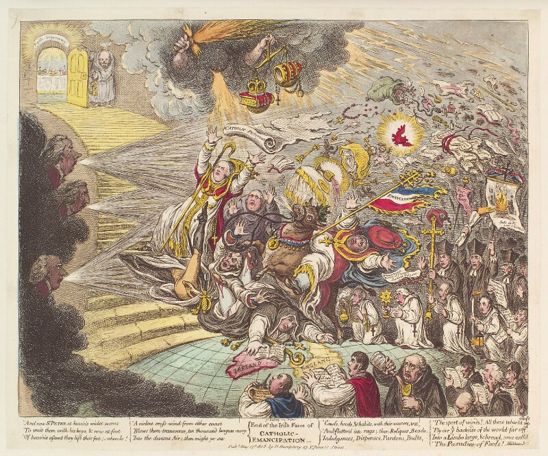 'End of the Irish farce of Catholic Emancipation', by James Gillray, published by  Hannah Humphrey, published 17 May 1805 - NPG D13110 - © National Portrait Gallery, London