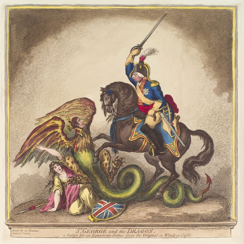 'St George and the dragon' (Britannia; Napoléon Bonaparte; King George III), by James Gillray, published by  Hannah Humphrey, published 2 August 1805 - NPG D13111 - © National Portrait Gallery, London