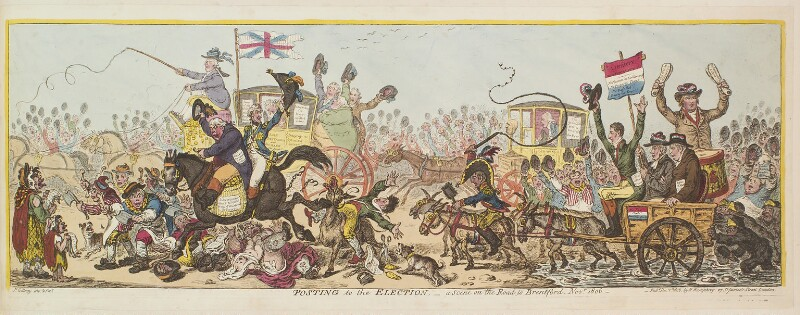 'Posting to the election, - a scene on the road to Brentford, Novr 1806', by James Gillray, published by  Hannah Humphrey, published 1 December 1806 - NPG D13113 - © National Portrait Gallery, London