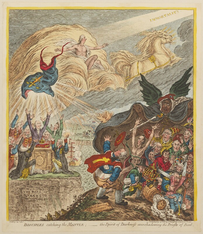 'Disciples catching the mantle: - the spirit of darkness overshadowing the priests of Baal', by James Gillray, published by  Hannah Humphrey, published 25 June 1808 - NPG D13116 - © National Portrait Gallery, London