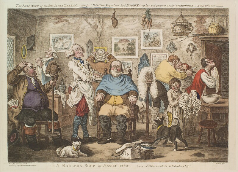 'A barbers shop in assize time', by James Gillray, published by  George Humphrey, after  Henry William Bunbury, published 15 May 1818 - NPG D13119 - © National Portrait Gallery, London