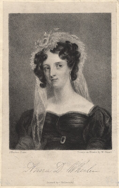 Anna Wheeler (née Doyle), by Maxim Gauci, printed by  Charles Joseph Hullmandel, after  J. Porter, published 1825? - NPG D13269 - © National Portrait Gallery, London