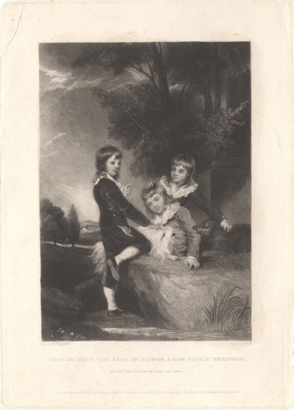 Thomas Philip de Grey, 2nd Earl de Grey; Frederick John Robinson, 1st Earl of Ripon; Philip Robinson, by Samuel William Reynolds, published by  Hodgson, Boys & Graves, sold by  Sir Francis Graham Moon, 1st Bt, after  Sir Joshua Reynolds, published 1834 (1788) - NPG D4034 - © National Portrait Gallery, London