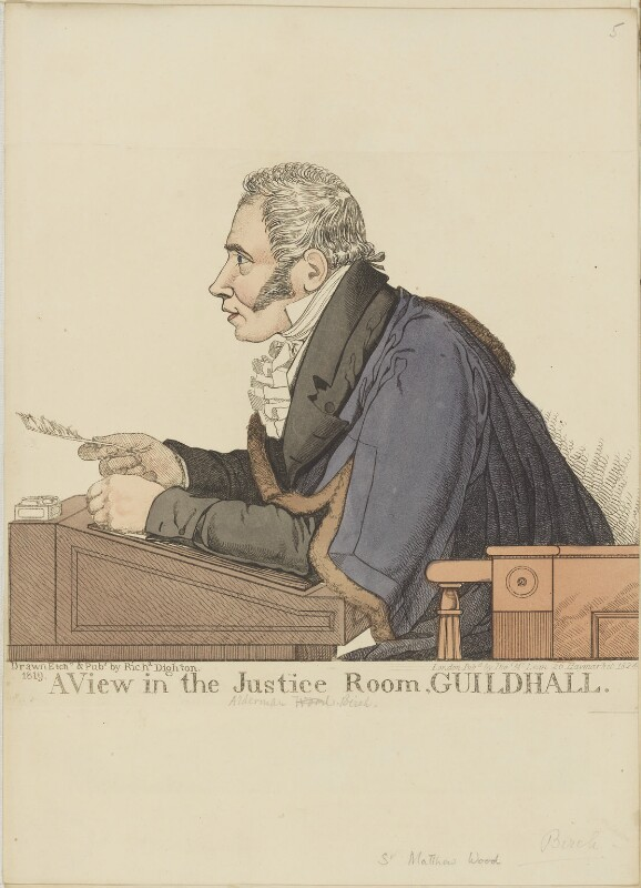 Sir Matthew Wood, 1st Bt ('A view in the Justice Room, Guildhall'), by and published by Richard Dighton, reissued by  Thomas McLean, published 1819 - NPG D13318 - © National Portrait Gallery, London
