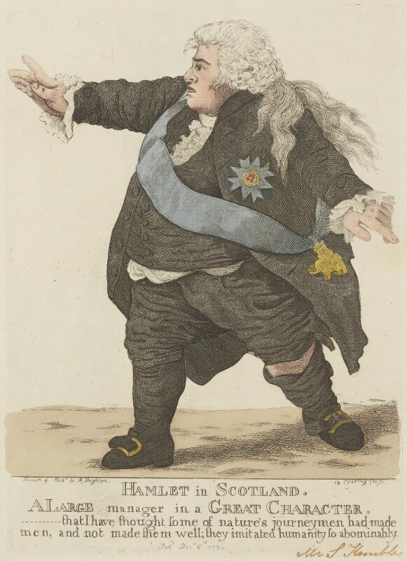 Stephen Kemble ('Hamlet in Scotland'), by and published by Robert Dighton, published 6 December 1794 - NPG D13335 - © National Portrait Gallery, London