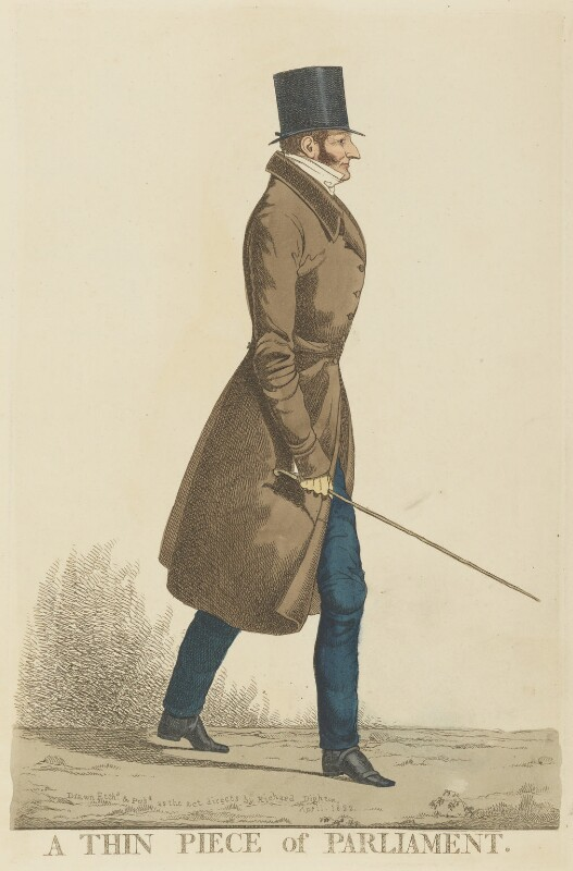 Henry Beauchamp Lygon, 4th Earl Beauchamp ('A thin piece of Parliament'), by and published by Richard Dighton, published April 1822 - NPG D13364 - © National Portrait Gallery, London