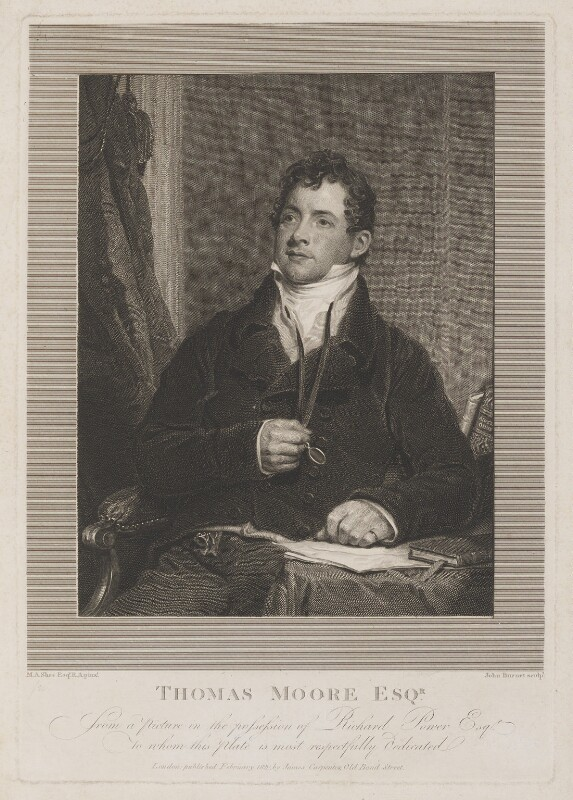 Thomas Moore, by John Burnet, published by  James Carpenter, after  Sir Martin Archer Shee, published February 1820 - NPG D13692 - © National Portrait Gallery, London