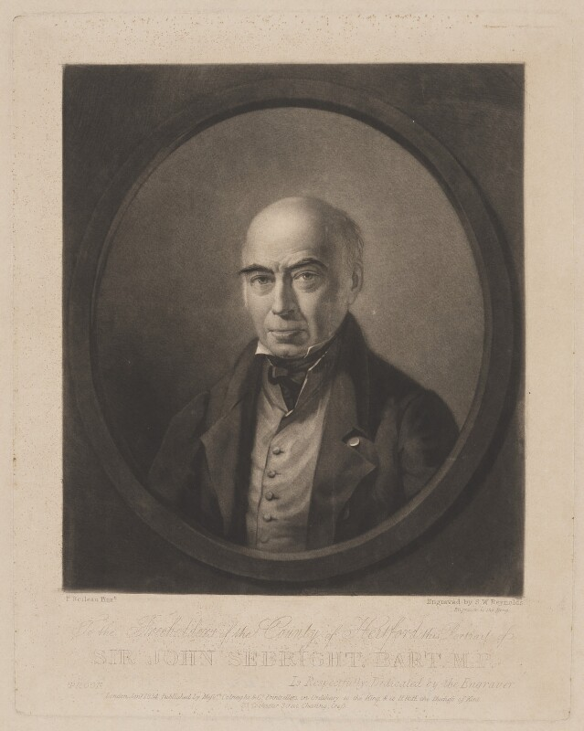 Sir John Saunders Sebright, 7th Bt, by Samuel William Reynolds, published by  Colnaghi & Co, after  P. Boileau, published January 1834 - NPG D13711 - © National Portrait Gallery, London