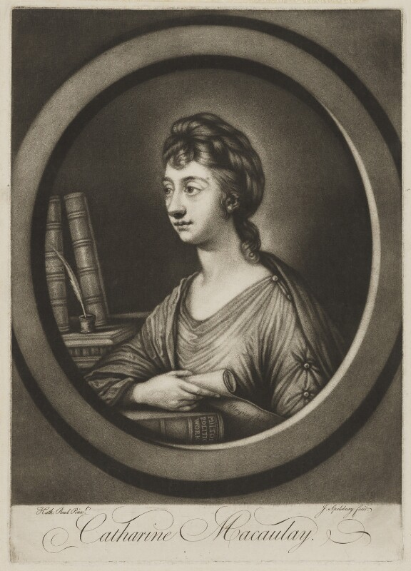 Catharine Macaulay (née Sawbridge), by Jonathan Spilsbury, after  Katharine Read, published 1764 - NPG D13745 - © National Portrait Gallery, London
