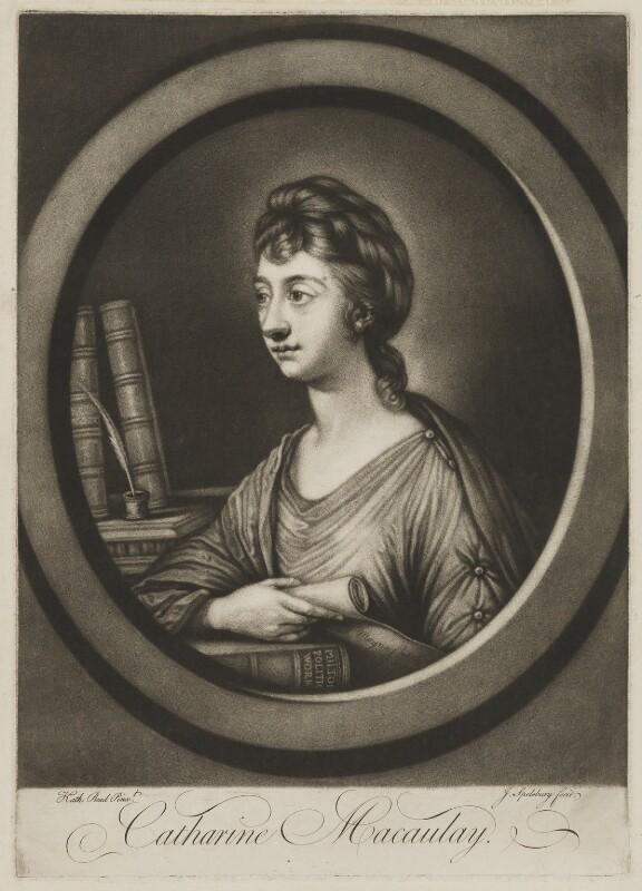 Catharine Macaulay (née Sawbridge), by Jonathan Spilsbury, after  Katharine Read, published 1764 - NPG D13745 - © National Portrait Gallery, London