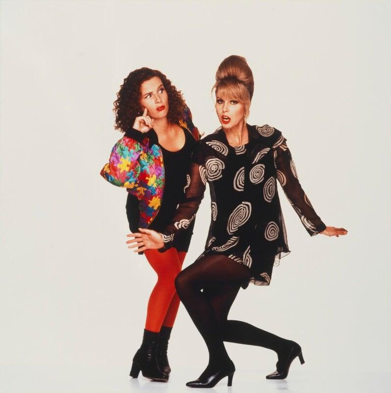 Joanna Lumley; Jennifer Saunders as Edina and Patsy in 'Absolutely Fabulous', by Trevor Leighton, 1996 - NPG x125837 - © Trevor Leighton / National Portrait Gallery, London