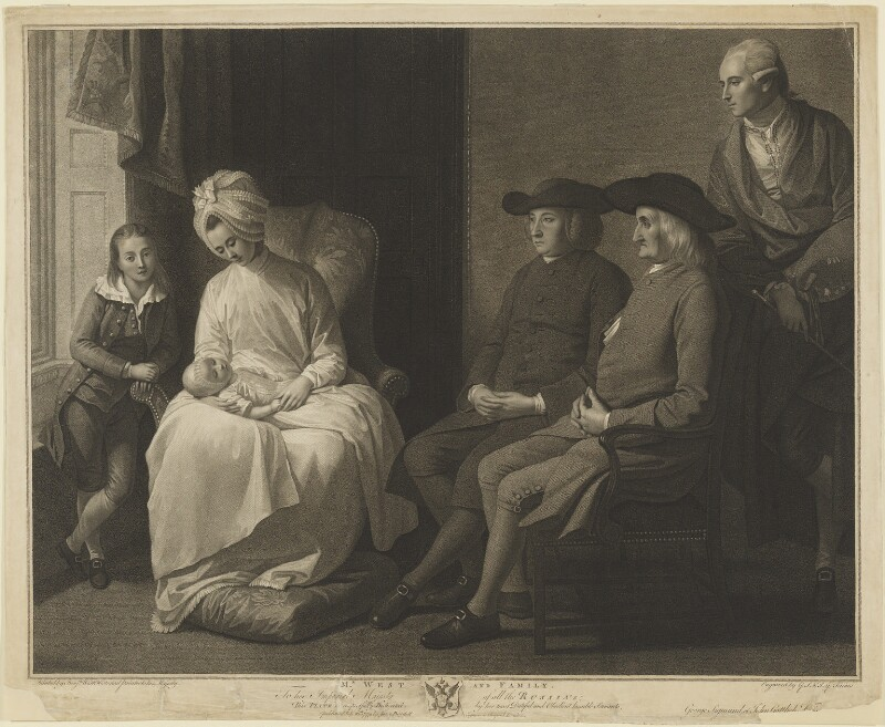 'Mr. West and Family', by Georg Siegmund Facius, by  Johann Gottlieb Facius, after  Benjamin West, published 1779 - NPG D13826 - © National Portrait Gallery, London