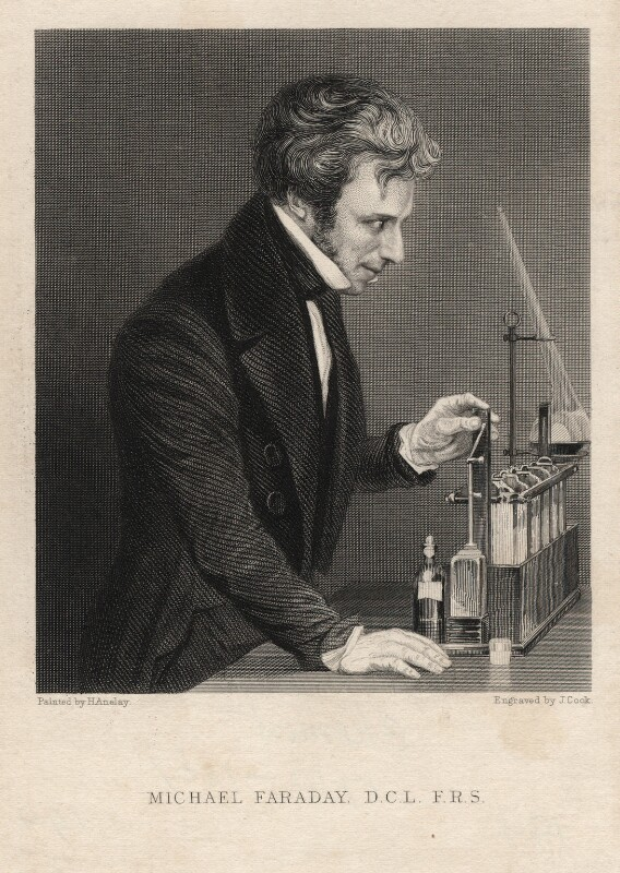 Michael Faraday, by J. Cook, after  Henry Anelay, mid 19th century - NPG D13783 - © National Portrait Gallery, London