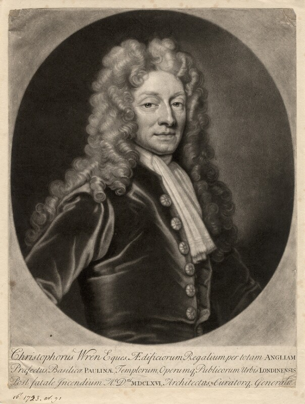 Sir Christopher Wren, by John Smith, after  Sir Godfrey Kneller, Bt, 1713 - NPG D17862 - © National Portrait Gallery, London