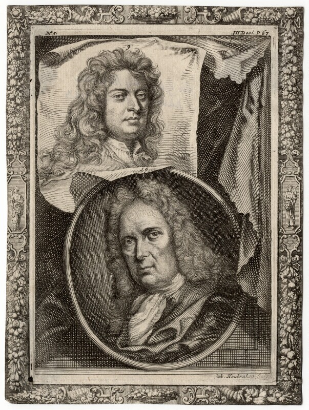 Sir Godfrey Kneller, Bt; Gerard Hoet, by Jacobus Houbraken, after  Sir Godfrey Kneller, Bt, and after  Unknown artist, mid 18th century - NPG D17863 - © National Portrait Gallery, London