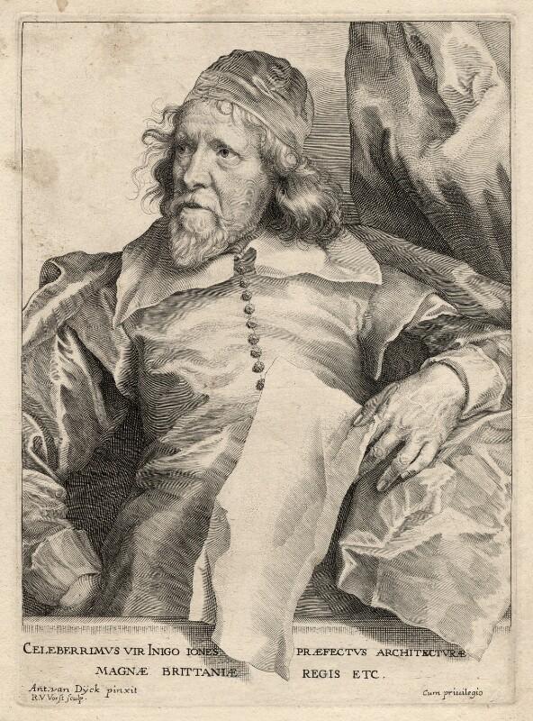 Inigo Jones, by Robert van Voerst, after  Sir Anthony van Dyck, 1635 (circa 1632-1635) - NPG D17865 - © National Portrait Gallery, London