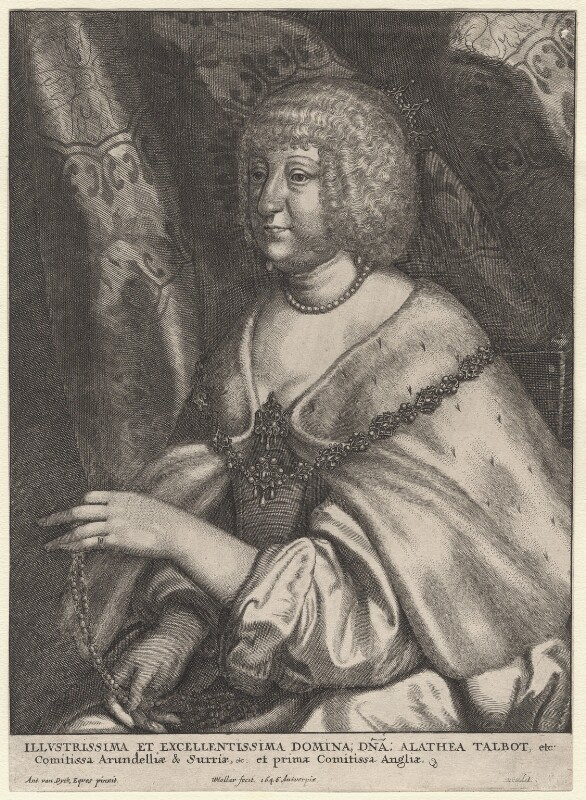 Aletheia Talbot, Countess of Arundel, by Wenceslaus Hollar, after  Sir Anthony van Dyck, 1646 - NPG D8370 - © National Portrait Gallery, London