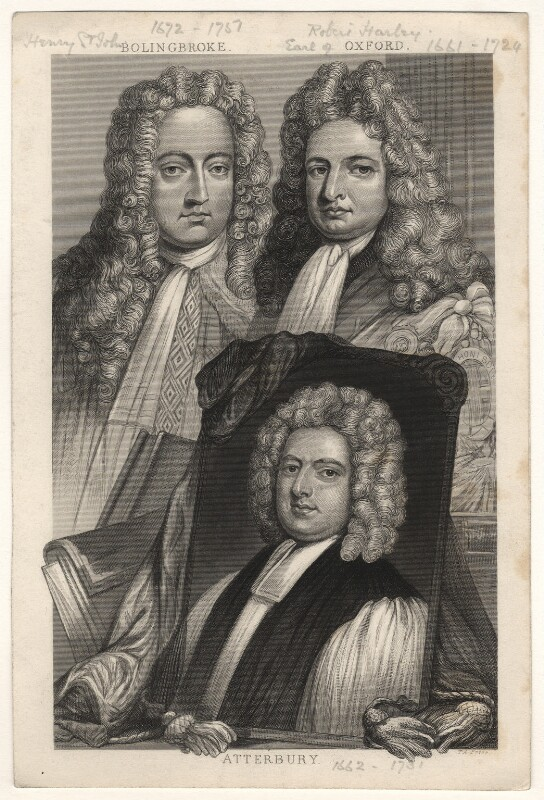 Henry St John, 1st Viscount Bolingbroke; Robert Harley, 1st Earl of Oxford; Francis Atterbury, by Thomas Abiel Prior, after  Sir Godfrey Kneller, Bt, mid 19th century - NPG D17870 - © National Portrait Gallery, London