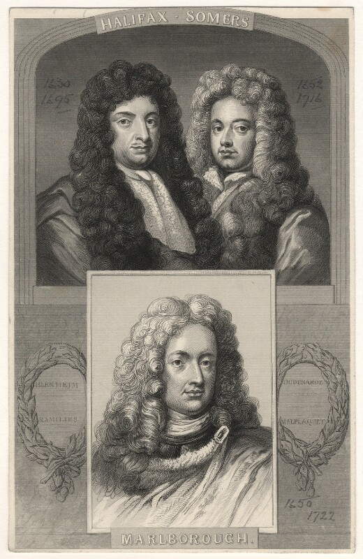 George Savile, 1st Marquess of Halifax; John Somers, Baron Somers; John Churchill, 1st Duke of Marlborough, after Unknown artists, early 19th century? - NPG D17874 - © National Portrait Gallery, London